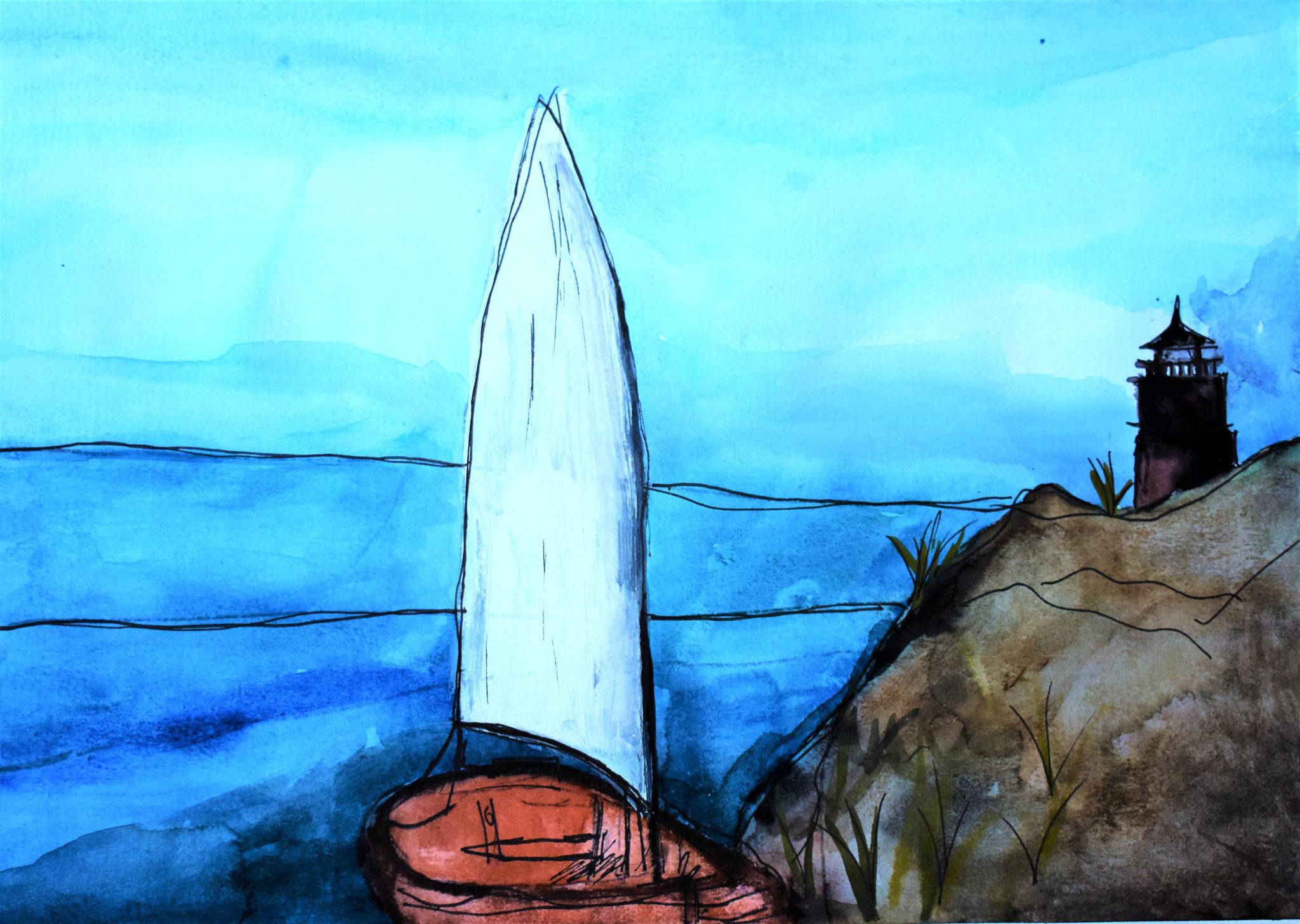 AdM Sailboat Overlook 9×12 mixed media $35 4-18