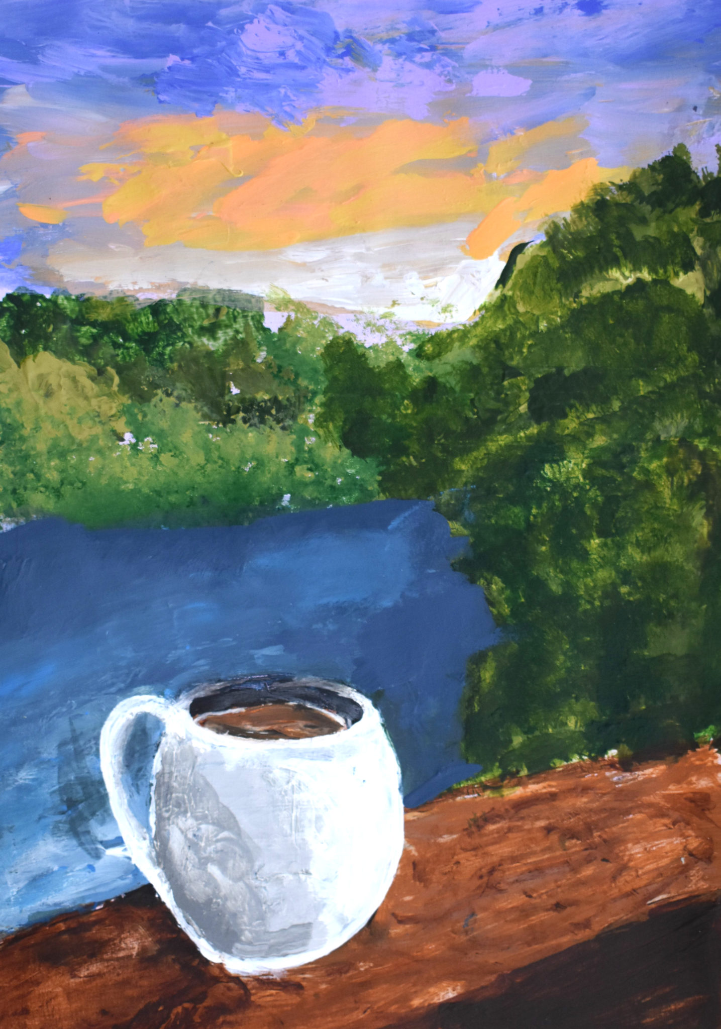 GH Coffee by the Sunrise 9×12 acrylic $50 4-18